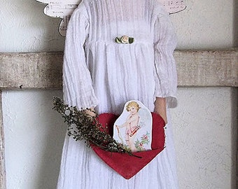Angel Love Cloth Doll Primitive Folk Art Instant Download PDF EPattern Doll Sewing and Painting Pattern by Edna Bridges