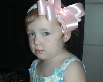 double layer satin pink bow
