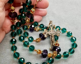Rosary Jewel Toned Crystal Hand cast Crucifix, Center