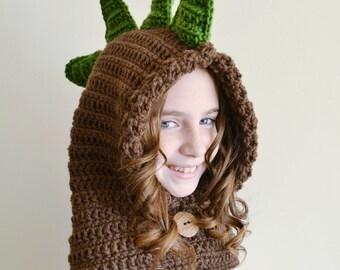 Dinosaur Hat - Dinosaur Hoodie - Dinosaur Cowl - Animal Hat - Hooded Scarf - Crochet Hoodie - Chunky Crochet Hat - Dino Hoodie - Dino Cowl