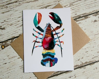 Lobster Card of Original Collage