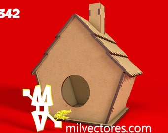 Vector for laser cutting house for birds