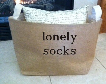 lined burlap lonely socks basket , burlap storage tote