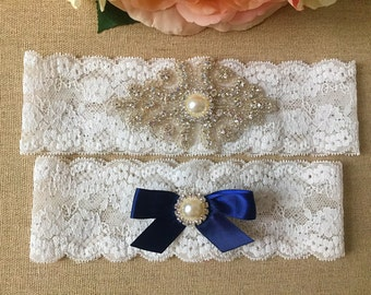 Navy Blue Rhinestone Garter Set - Wedding Lace Garter - Pearl Garter - Toss Garter - Bridal Garter - Wedding Garter Belt - Keepsake Garter