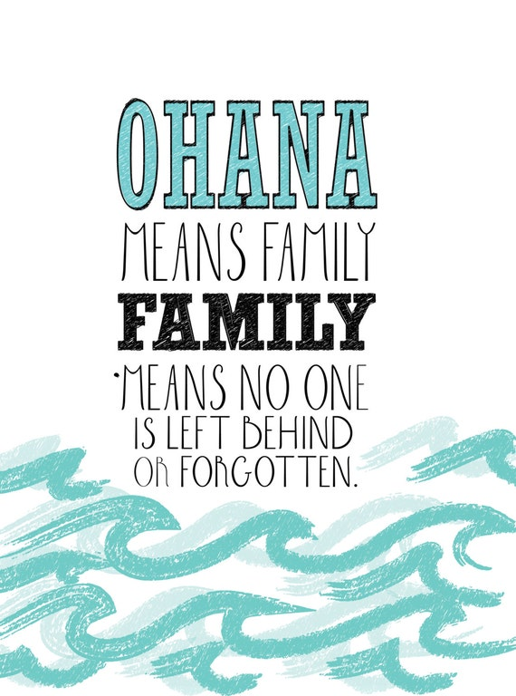 Lilo And Stitch Inspirational Quote Poster Ohana Digital
