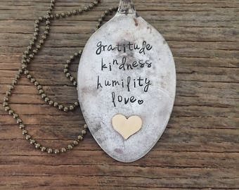 "gratitude kindness humility love hand stamped brass heart vintage silverware flattened spoon 36"" necklace"