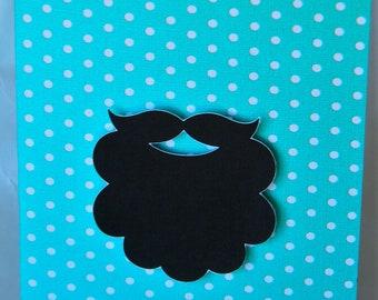 Beard versus Handlebar Mustache note cards- set of 4