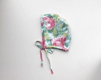 Linen floral bonnet//linen navy stripe bonnet// unisex // summer// winter // spring childrens clothing