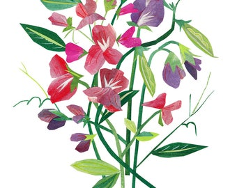 Sweet Peas - Giclee Print of an Original Collage