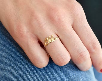 14K Gold Name Ring - Gold Ring - Name Ring - Name jewelry - Custom Name Ring - Bridesmaid Gift - Personalized Ring - Valentine's Days Gift