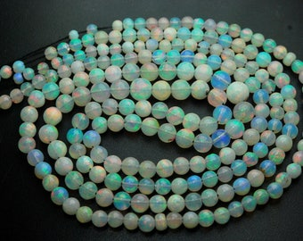 38 Carats,19 Inches,Natural ETHIOPIAN Opal Smooth Round Rondelles,Size 3-6mm