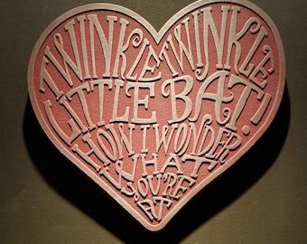 Alice in Wonderland themed wall plaque - twinkle twinkle