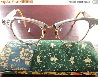 MAYniaSALE Amazingly Beautiful Vintage 1950s Art Craft BiFocal Eye Glasses, Cats Eye Shaped Etched Frame with Case Included