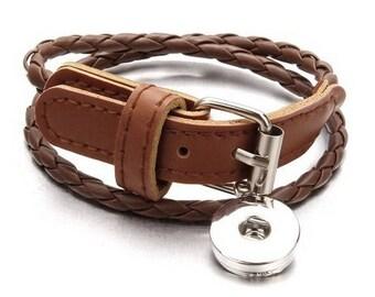 Brown braided leather snap bracelet