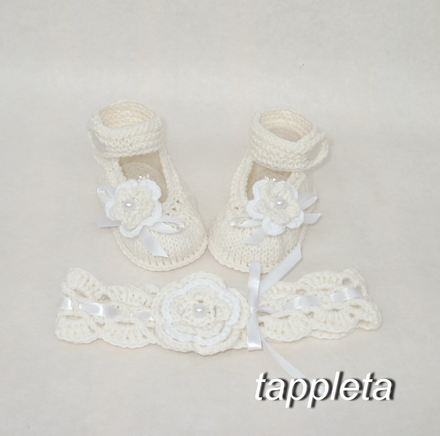 ivory headband and booties baptism shoes knitted booties