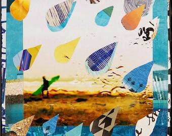 DROUGHT, CA, New 8x10, 11x14, 16x20, Rain Drops, Hand-Signed matted print, Beach Art, Rain, Rainy Day, California Drought, Surfer, Beach