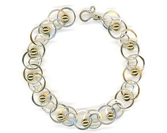 Chain Link Silver Gold Bracelet Sterling Circle Chain Gold Beaded Wire Jewelry Chainmaille