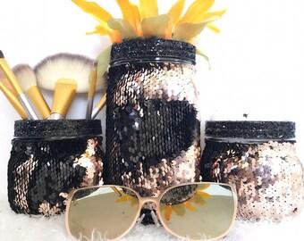 3pc Rosegold and black mason jars