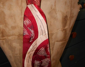 Vintage 50's Rayon Tie/Burgundy Red-Beige Abstract 50's Wide Tie/Swing, Rockabilly Rayon Tie