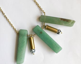 Aventurine and Agate Bullet Necklace
