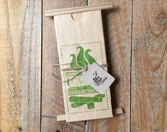 S'mores Favor Bags - Hand Stamped in GREEN - 6 Favor Bags - Campfire Bonfire Outdoor Party - Ready to Ship
