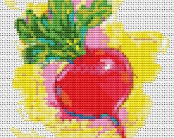 Beet Cross Stitch Chart, The Beet Cross Stitch Pattern PDF, Art Cross Stitch, Kitchen Series, Embroidery Chart