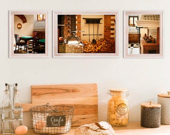 Kitchen wall art print set of 3, Brown print set, Dutch kitchen decor, Triptych home wall art, kitchen art prints, 16x20 photo prints, 8x10
