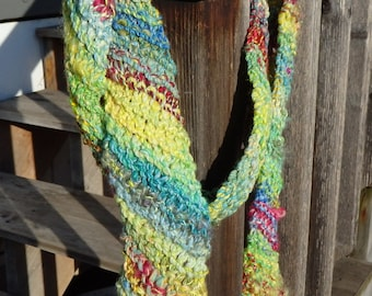 Easter Egg Hunt handknit scarf with handspun art yarn, with merino, locks and silk.