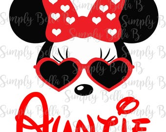 Minnie Sunglasses Auntie INSTANT DOWNLOAD Printable Digital Iron-On Transfer Design - DIY