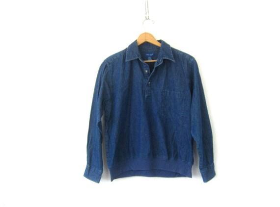 Vintage Jean shirt Pullover Button Collar Henley Denim Pocket Shirt 90s Casual Preppy Shirt Normcore Women's Size Medium