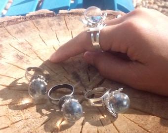 Crown Crystal Ball Ring