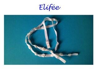 Pair of white thin elastic bra straps with white roses