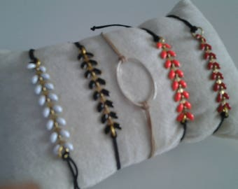 Bracelet with cord Bay leaves