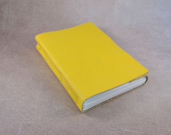 Yellow leather journal sketchbook, unique notebook A6 travel journal