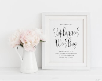 Unplugged Wedding Sign, 8x10 Unplugged Wedding Sign, Printable Wedding Sign, Wedding Decor