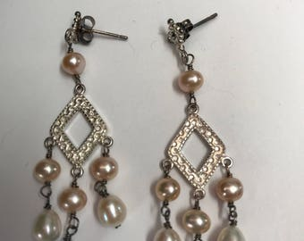 Fresh water pearl earrings silver