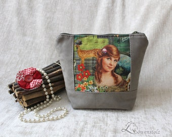 Cosmetic bag, country house style, cotton, imitation leather