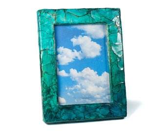 Polymer Clay Small Picture Frames Distressed, Shabby Chic Picture Frames, Turquoise Picture Frame, Small Photo Frame, Picture Frame for Mom