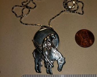 Vintage sterling silver 22 inch chain with sad Indian on horseback pendant