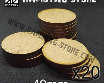 20 round bases D40mm MDF