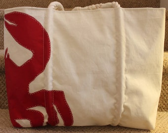 Recycled red crab sail bag