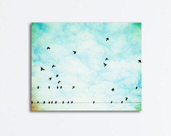 "Aqua Blue Bird Canvas Wrap - nursery photography flying sky wall art clouds gallery wrap nature, 20x24, 8x10 - ""On Wings of Joy We'll Fly"""