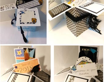 Handmade Graduation pop up exploding box card- 2 variations left- Penn State University- Free Shipping in USA
