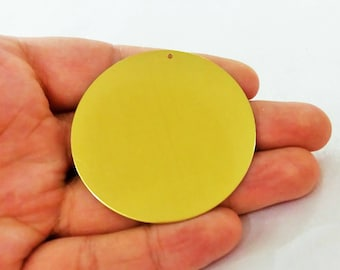 5  Pcs Raw Brass  52 mm  Stamping Disc 1 Hole - 25 Gauge  Stamping Disc