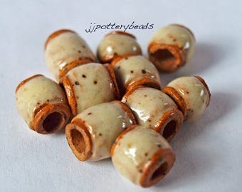 Beads, Handmade beads, Ceramic Beads, Stoneware beads, Beads with 4mm holes, Pottery beads, large hole beads, macrame beads,