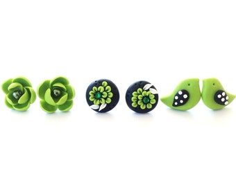Green Stud Earrings Jewelry Gift Set handmade from Polymer Clay perfect for St. Patrick's Day