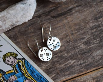 Constellation Earrings, Star Earrings, Sterling Silver Stamped Constellation Jewelry, Astronomy Jewelry, Galaxy Jewelry