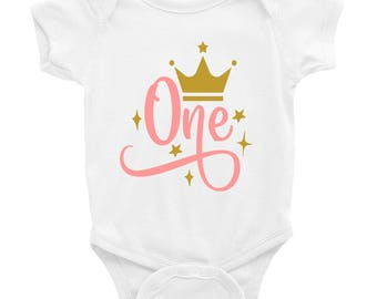 Pink and Gold Birthday Outfit - 1st Birthday Outfit 1 - Pink and Gold Birthday Party - Cake Smash Outfit -  Crown One Birthday Outfit White