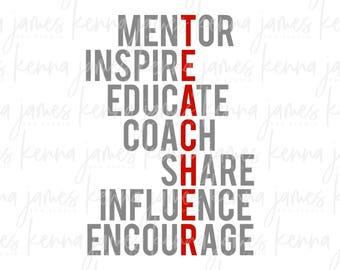 Teacher svg   Mentor svg   Inspire svg   Educate svg   Coach svg   Share svg   Influence svg   Encourage svg   SVG   DXF   JPG   cut file