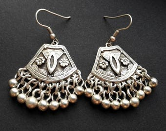 Tribal Kuchi Earrings | Ethnic Earrings | Antique Silver Plated Zamak Earrings | Afghan Earrings | Pendientes | Boho chic Earrings